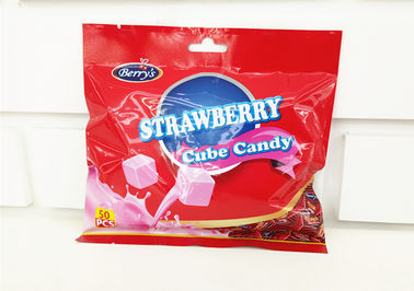2.75g Cube Shape Strawberry Flavour Milk Candy In Bag Sehat Dan Yummy