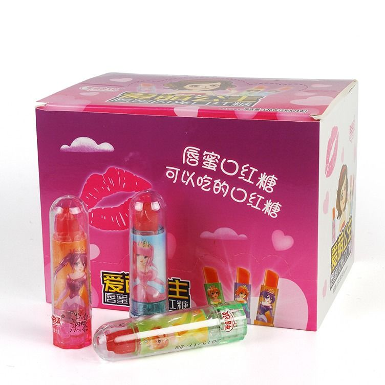 Fruity Sugarless Confectionery Lipstick Candy With Flashlight Novelty